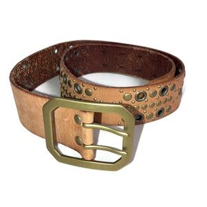 Linea Pelle Tan Leather Studded Belt Brass Buckle